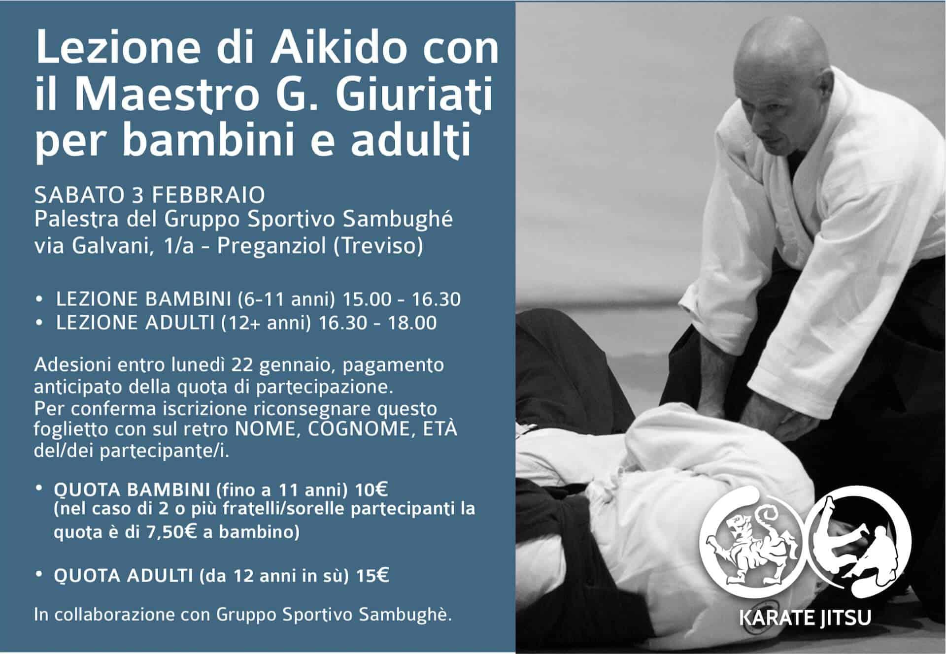 Lezione di Aikido con il Maestro G. Giuriati per bambini e adulti